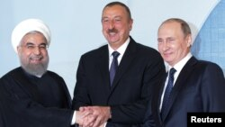 Хасан Роухани, Ильхам Алиев и Владимир Путин. Баку, Азербайджан. 8 августа 2016 г.