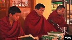 Biarawan-biarawan Tibet sedang menekuni kitab mereka (foto: dok).