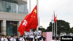 當局在香港主權移交中國24週年紀念日舉行升旗儀式(路透社)