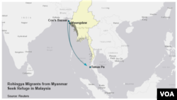 Migrants leave Myanmar for Malaysia.