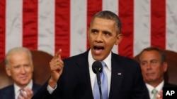 Perezida Barack Obama ageza ijambo ry'umwaka wa 2014 kuri Kongre y'Amerika.