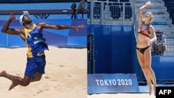 Image composite de tenues de beach-volley pour hommes et femmes lors des jeux olympiques de Tokyo 2020.