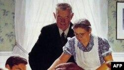 """Amerikalı ünlü ressam Norman Rockwell'in """"Şükran Günü Yemeği"""" tablosu"""