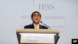 PM Thailand Prayuth Chan-ocha memberikan sambutan dalam sajian santap malam pembukaan KTT Keamanan Asia, Shangri-a Dialogue di Singapura (3/6).