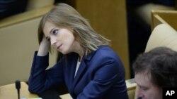 俄羅斯下議院國家杜馬議員波克隆斯卡婭10月5日在下議院參加會議