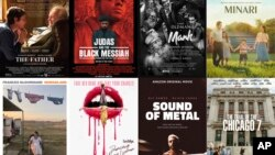 "This combination photo shows poster art for best picture Oscar nominees, top row from left, ""The Father,"" ""Judas and the Black Messiah,"" ""Mank,"" ""Minari,"" bottom row from left, ""Nomadland,"" ""Promising Young Woman,"" Sound of Metal,"" and The Trial of the Ch"