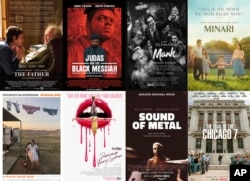 """This combination photo shows poster art for best picture Oscar nominees, top row from left, """"The Father,"""" """"Judas and the Black Messiah,"""" """"Mank,"""" """"Minari,"""" bottom row from left, """"Nomadland,"""" """"Promising Young Woman,"""" Sound of Metal,"""" and The Trial of the Ch"""