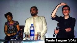 Ritu Sarin, Kabir Bedi and Tezing Sonam at a press conference in Delhi
