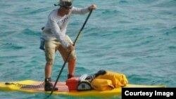 Shane Perrin will be competing on his custom stand up paddle board and he is the world record holder for most miles traveled by SUP in 24 hours (more than 160 km). (VerticalOar.com)