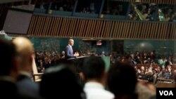 Presiden AS Barack Obama dalam pidatonya di depan Sidang Umum PBB, Kamis 23 September 2010.