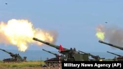台湾第37号汉光演习第4天军方在屏东海岸举行联合反登陆作战操演实弹射击(2021年9月16日)