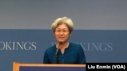 傅莹,中国全国人大外委会主任委员(美国之音莉雅拍摄)