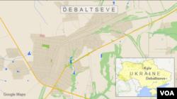 Bản đồ thị trấn Debaltseve, miền đông Ukraine.