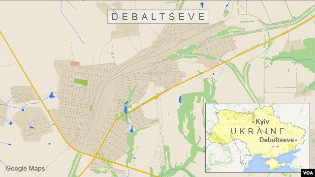 Map of Debaltseve, Ukraine