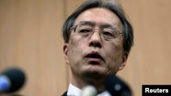 이하라 준이치 일본 외무성 아시아 대양주 국장이 1일 베이징에서 북한 측과의 협의를 마친 후 기자회견을 가졌다.
