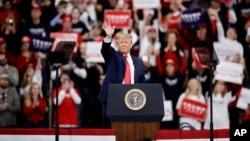 2019年12月10日特朗普总统星期二在达宾夕法尼亚州竞选集会上。