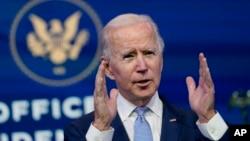 ប្រធានាធិបតីសហរដ្ឋអាមេរិកជាប់ឆ្នោតលោក Joe Biden ថ្លែងសុន្ទរកថានៅមហោស្រព Queen ក្នុងទីក្រុង Wilmington រដ្ឋ Delaware កាលពីថ្ងៃទី៦ ខែមករា ឆ្នាំ២០២១។