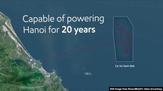 Vị trí mỏ Cá Voi Xanh tại Lô 118 ở quần đảo Hoàng Sa của Biển Đông. (Ảnh chụp màn hình video giới thiệu dự án Cá Voi Xanh của ExxonMobil)