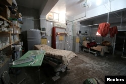 An empty room at a damaged field hospital is seen after airstrikes in a rebel held area in Aleppo, Oct. 1, 2016.