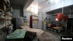 An empty room at a damaged field hospital is seen after airstrikes in a rebel-held area in Aleppo, Oct. 1, 2016.