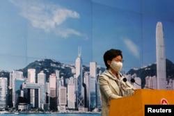 香港特首林郑月娥在记者会上(2020年6月30日)