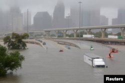 Interstate highway 45 is submerged from the effects of Hurricane Harvey seen during widespread flooding in Houston, Texas, Aug. 27, 2017.