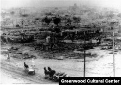 Aftermath of the Greenwood riot in June 1921. (Courtesy Greenwood Cultural Center)