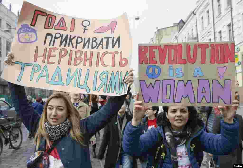 تظاهرات بزرگداشت روز جهانی زن در کییف،اواکرین.