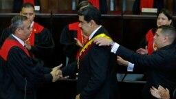 Tổng thống Venezuela Nicolas Maduro trong lễ tuyên thệ nhậm chức ngày 10/1/2019 tại Caracas.