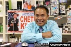 Cheth Khim, a candidate for Massachusetts' 18th Middlesex House seat, at his office on Middlesex Street. (Photo courtesy of Sun/John Love)