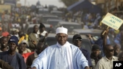 Senegalese President Abdoulaye Wade on campaign tour in Dakar Feb. 22, 2012.
