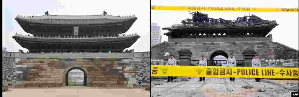 Right: South Korean police stand guard in front of the debris of the Namdaemun gate following a fire in central Seoul on February 11, 2008. Left: The newly-restored Namdaemun gate during a press preview in Seoul on April 29, 2013.