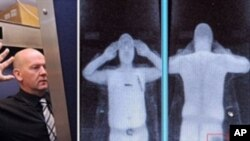This file combination of images taken on October 13, 2009 shows an airport staff member (L) demonstrating a full body scan at Manchester Airport in Manchester, England