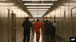 Immigration detainees at Stewart Detention Facility in Lumpkin, Georgia, April 13, 2009.