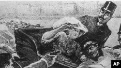 描绘塞尔维亚青年普林齐普刺杀了奥匈帝国王储斐迪南夫妇事件的绘画
