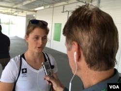 Maja Siegenthaler, Swiss sailor, 470 class, talking with VOA's Parke Brewer in Rio de Janeiro, Brazil, Aug. 7, 2016. (A. Andrade/VOA)