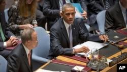 Presiden AS Barack Obama memimpin pertemuan Dewan Keamanan PBB di New York hari Rabu (24/9).