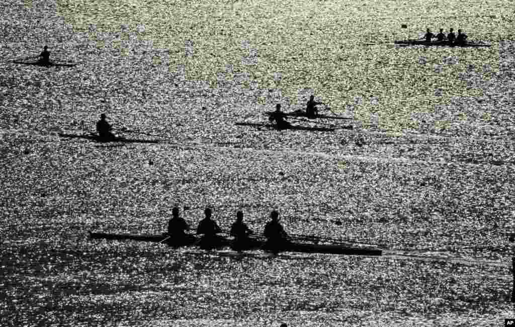 Rowers warm up prior to competition during the 2016 Summer Olympics in Rio de Janeiro, Brazil.