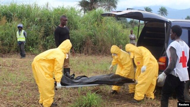 Nhân viên y tế khiêng một nạn nhân Ebola đi chôn ở thị trấn Waterloo, Freetown, Sierra Leone.