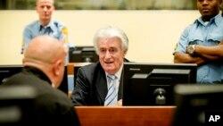 Radovan Karadžić u sudnici za vrijeme izricanja prvostepene presude kojom je osuđen na 40 godina zatvora, 24. mart 2016.