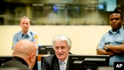 L'ex-chef de guerre serbe de Bosnie Radovan Karadzic en salle d'audience à la lecture de son verdict au Tribunal pénal international pour l'ex-Yougoslavie (TPIY) à La Haye, Pays-Bas jeudi 24 mars 2016.