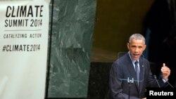 23일 미국 뉴욕 유엔 본부에서 열린 기후변화 정상회의에서 바락 오바마 미국 대통령이 연설하고 있다.