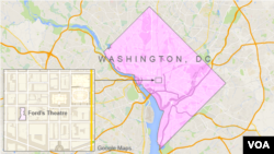 Location of Ford's Theater in Washington D.C.