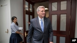 House Majority Leader Kevin McCarthy of California, emerges from a House Republican Conference meeting on Capitol Hill in Washington, July 28, 2017.