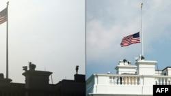 La bandera de EE. UU. sobre la Casa Blanca, a media asta, en honor al senador estadounidense John McCain.
