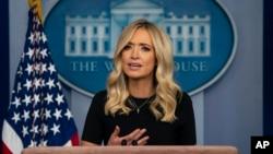 白宮新聞秘書凱莉麥克納尼在白宮記者會上講話。(2020年5月26日)