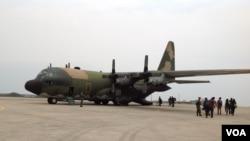 台湾军队的C-130运输机(美国之音杨晨拍摄)