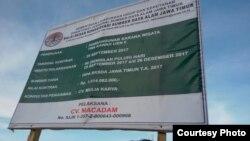 Papan proyek pembangunan fasilitas publik di wisata alam Ijen (Foto courtesy: Sea Soldier Banyuwangi).