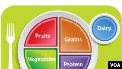 """""""Mi Plato"""" busca recordar a las personas las opciones de comida saludables, haciendo énfasis en las frutas, vegetales, granos, proteínas y lácteos."""