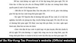 """Công văn về """"không bài tập trong dịp Tết"""" của Sở GD-ĐT Bà Rịa-Vũng Tàu, 26/1/2021"""